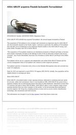 ASSA ABLOY acquires Finnish locksmith Turvaykköset