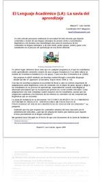 El Lenguaje Académico (LA): La savia del aprendizaje