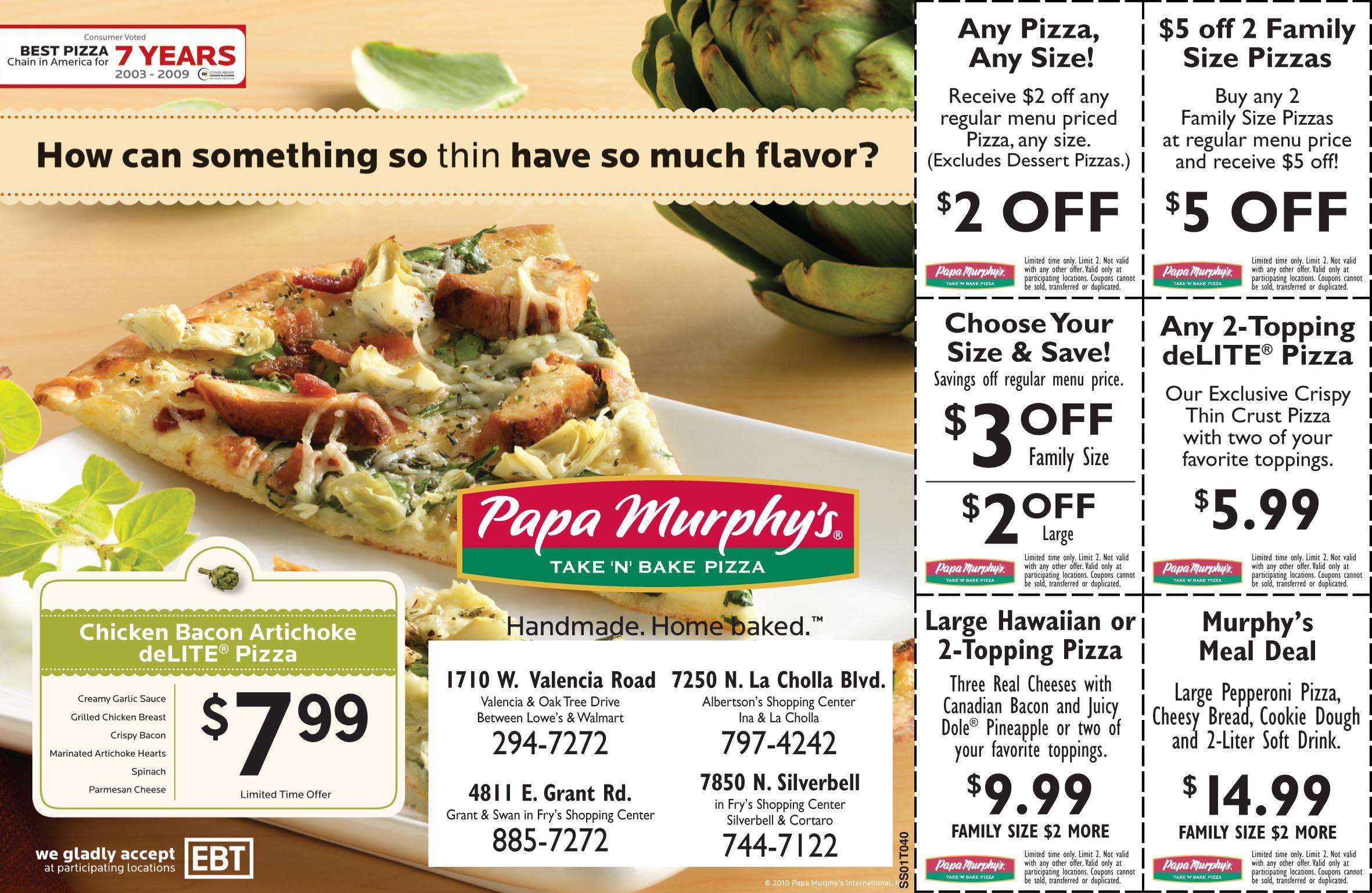 Printable coupons papa murphy