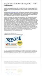 5 Important Steps To Do Before Deciding To Buy A Verified Paypal Account