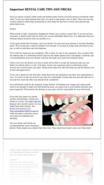 Important DENTAL CARE TIPS AND TRICKS