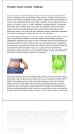 Thoughts About Garcinia Cambogia