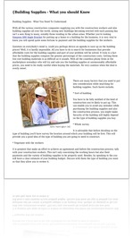 {Building Supplies - What you should Know