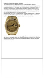 Guidelines For Speedy Plans Of  Swiss Made Watch