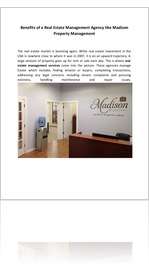 Benefits of a Real Estate Management Agency like Madison Property Management
