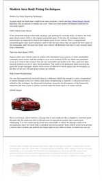 Modern Auto Body Fixing Techniques