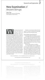 Volume 1 #1, 2014: New Examination of Ancient Stirrups