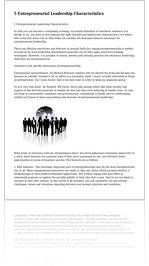 5 Entrepreneurial Leadership Characteristics
