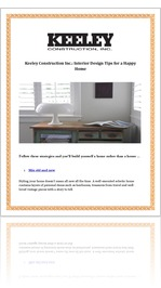 Keeley Construction Inc.: Interior Design Tips for a Happy Home