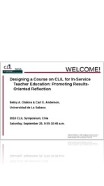 B. A. Otálora & C. E. Anderson: Designing a Course on CLIL for In-Service Teacher Education