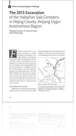 Volume 2 #1-2, 2015: The 2013 Excavation of the Habqihan Sala Cemetery in Hejing County